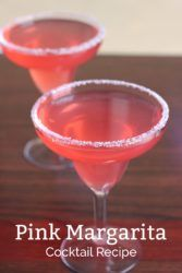 The Pink Margarita recipe adds a touch of grenadine to the traditional tequila, Cointreau and lime. It's a delicious, refreshing, sweet twist on the traditional margarita. #drink #recipes