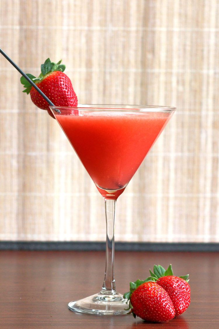 Strawberry Sombrero drink with strawberry garnish