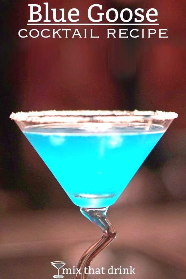 Blue Goose cocktail with sugar rim