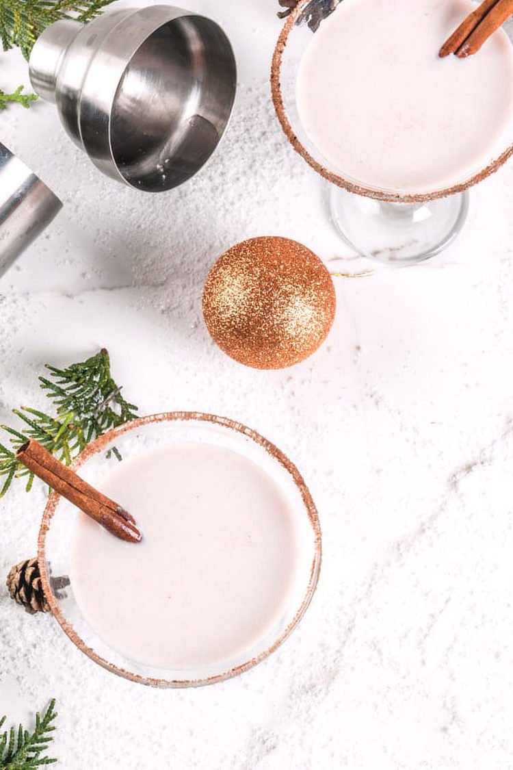 Overhead view of two Eggnog Martinis