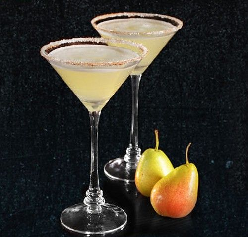 Spiced Pear Affair drink recipe - Tequila, Pear Brandy, Lime, Spiced Simple Syrup, Spiced Sugar