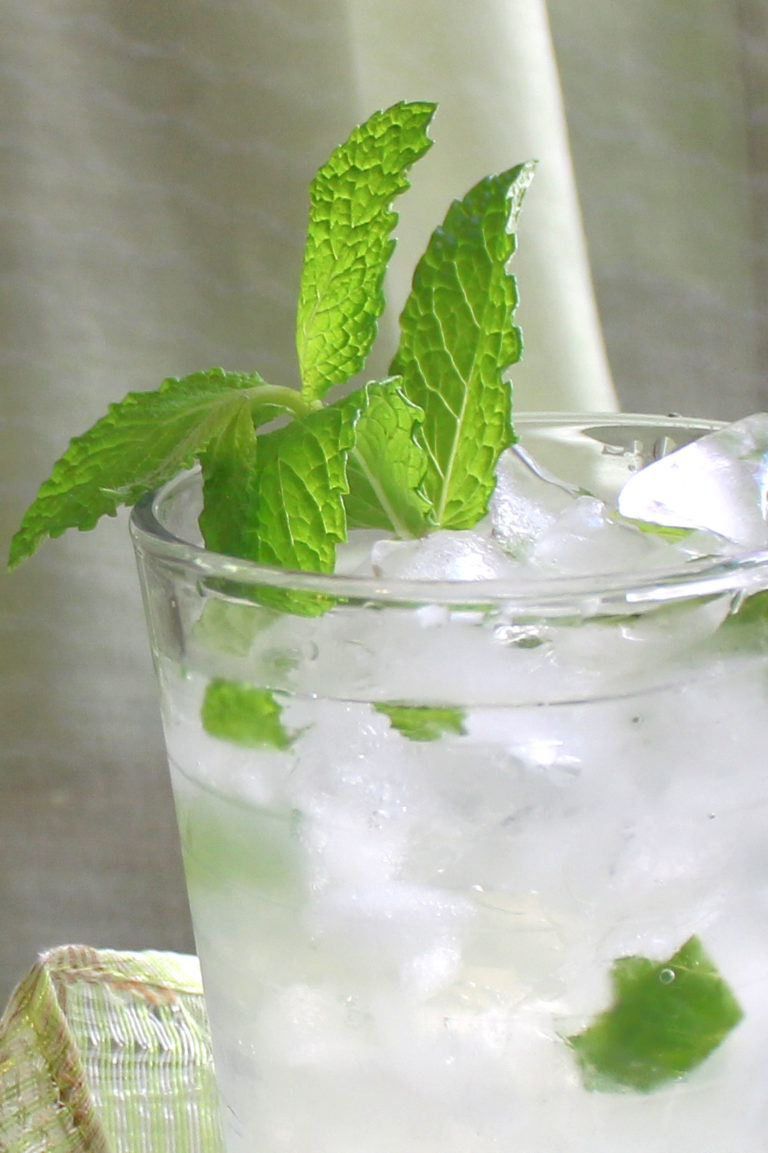 Close-up view of Mojitarita drink with lots of mint sprigs