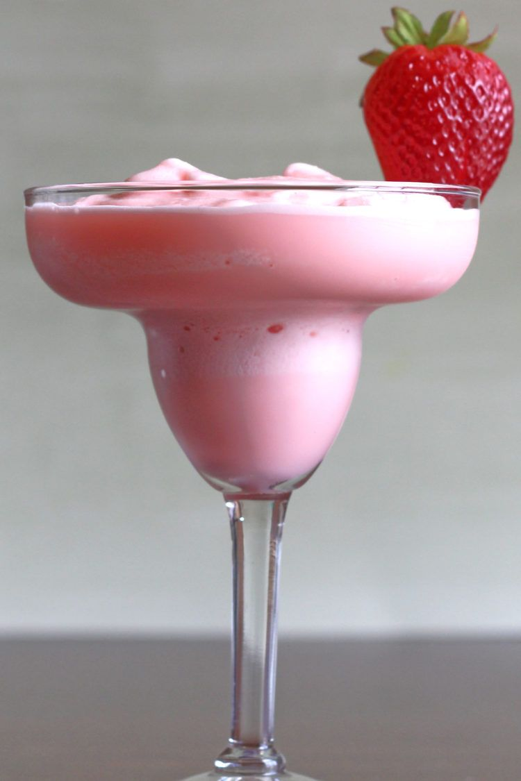 Strawberry Banana Margarita recipe with strawberries, banana, tequila, triple sec and lime.