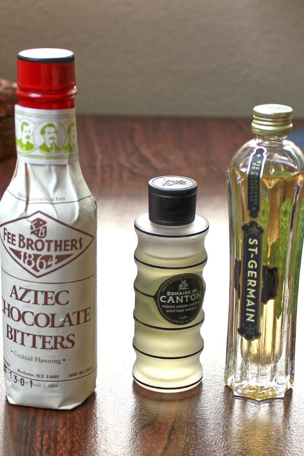 Bottles of Aztec Chocolate Bitters, Canton Ginger Liqueur, St. Germain Elderflower Liqueur