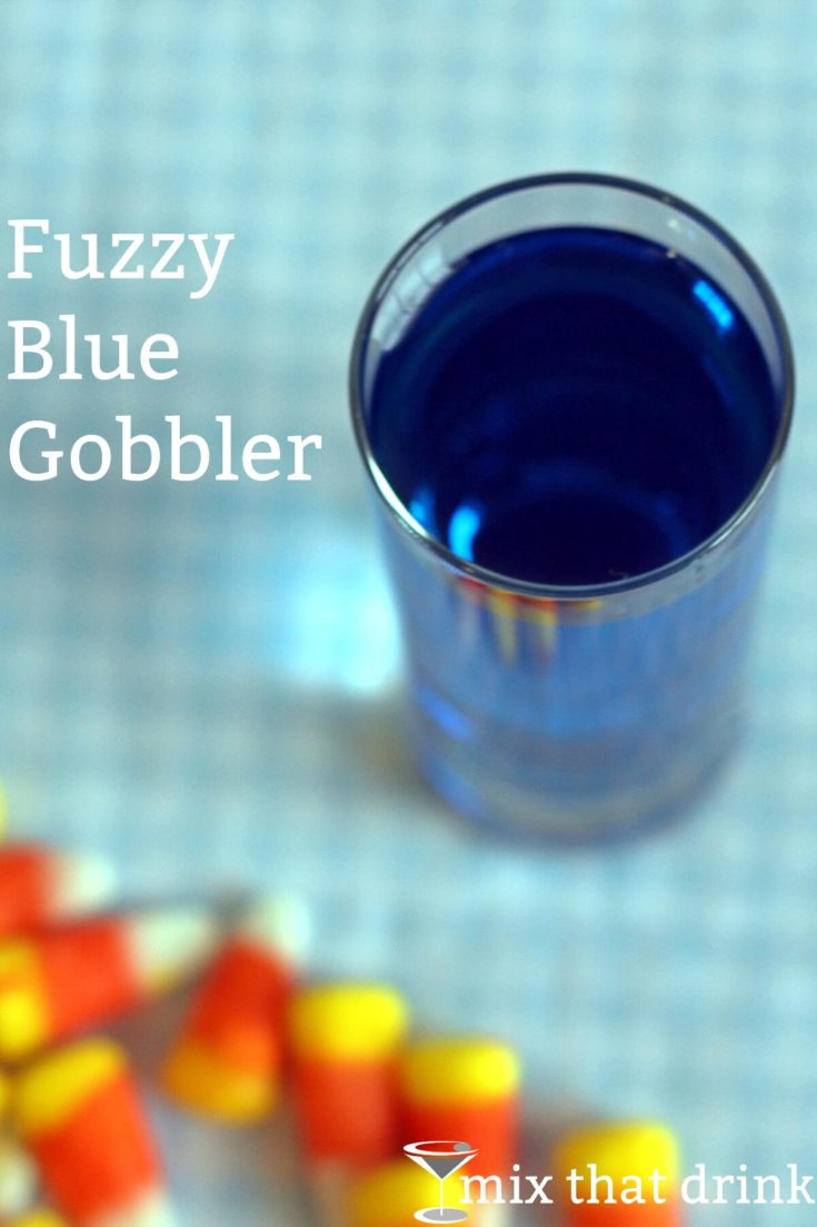 Overhead view of Fuzzy Blue Gobbler on table with candy corn