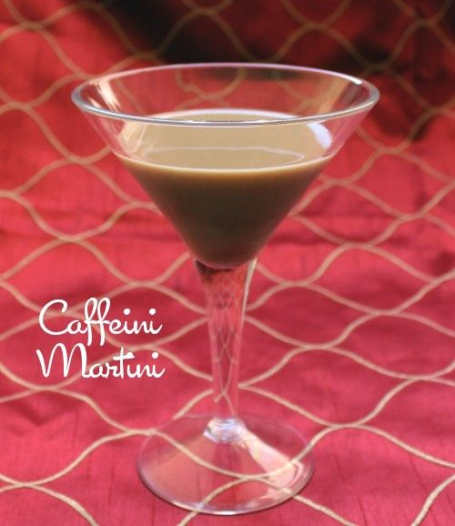 Caffeini Martini against red backdrop