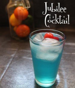Jubilee cocktail recipe - Tequila, Gin, Vodka, Blue Curacao, Lemon, Club Soda