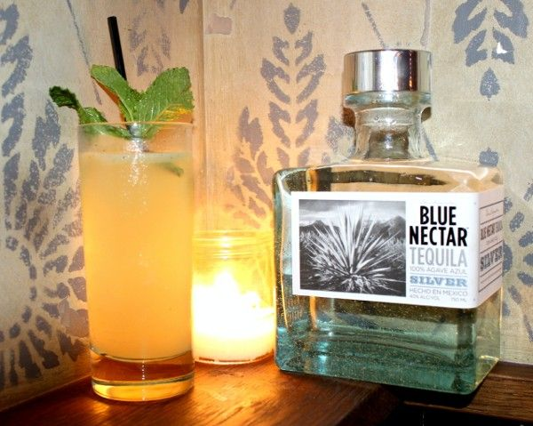 Minted Mule drink recipe - Blue Nectar Silver Tequila, Lime Juice, Ginger Beer, Mezcal, Mint Leaves
