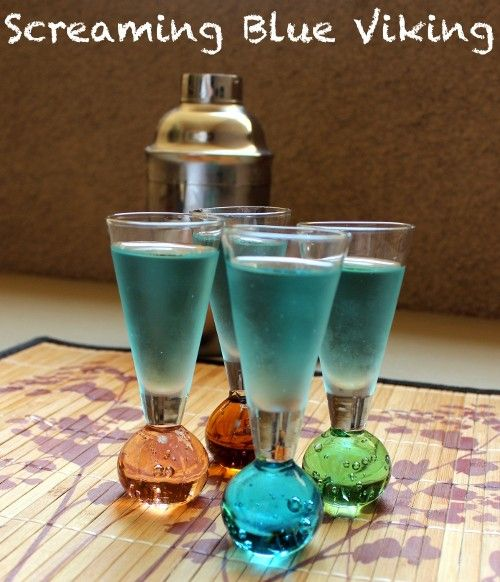 Screaming Blue Viking drink recipe - Yukon Jack, Rumple Minze, Blue Curacao