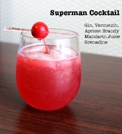 Superman Cocktail recipe - Gin, Vermouth, Mandarin Juice, Apricot Brandy, Grenadine
