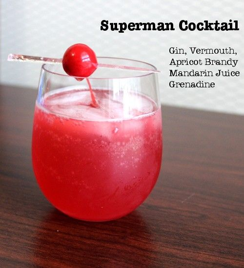 Bright red Superman Cocktail with cherry