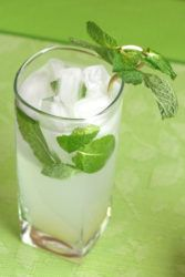 Nojito Mocktail with mint garnish on green placemat