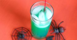 The Spooky Juice cocktail is a murky green cocktail that tastes like orange with a hint of berry. It's a great choice for Halloween parties. This drink is very easy to love - fruity and simple.