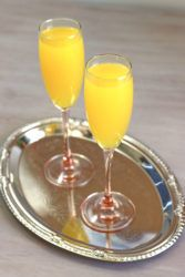 Two Mockmosa drinks on silver tray