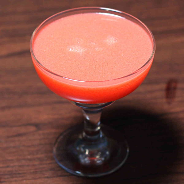The Soft Love drink recipe tastes a little like a Strawberry-Banana Starburst, but with more berry and, obviously, the alcohol kick. It's a fruity cocktail, featuring creme de bananes and cherry vodka.