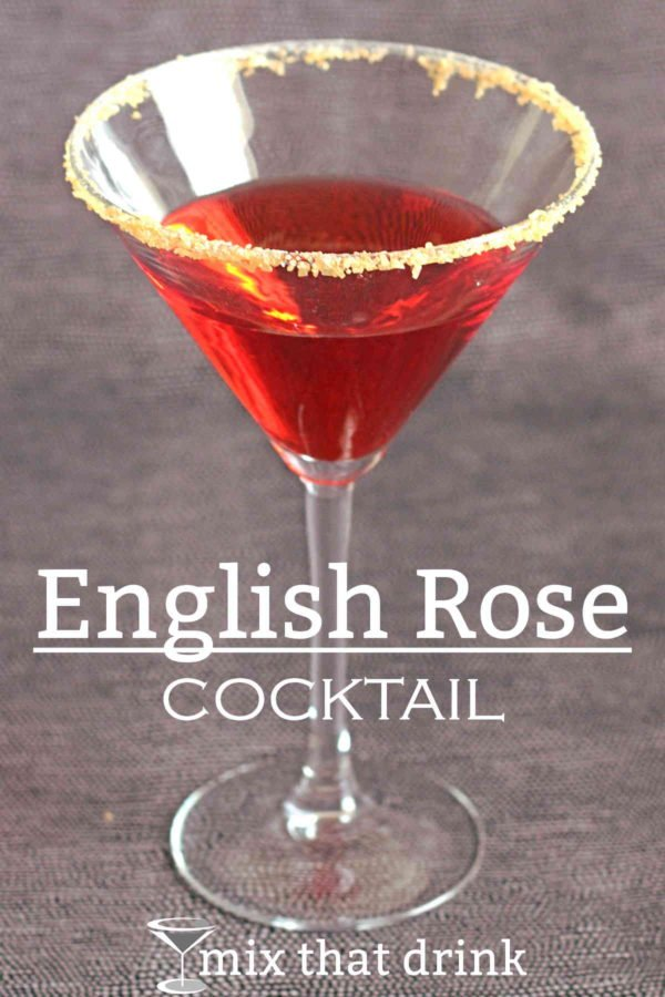 The English Rose drink recipe is gorgeous as well as tasty. This bright red cocktail contrasts the sweetness of apricot brandy and grenadine with gin, dry vermouth and lemon. And you can put a sugar rim on it.