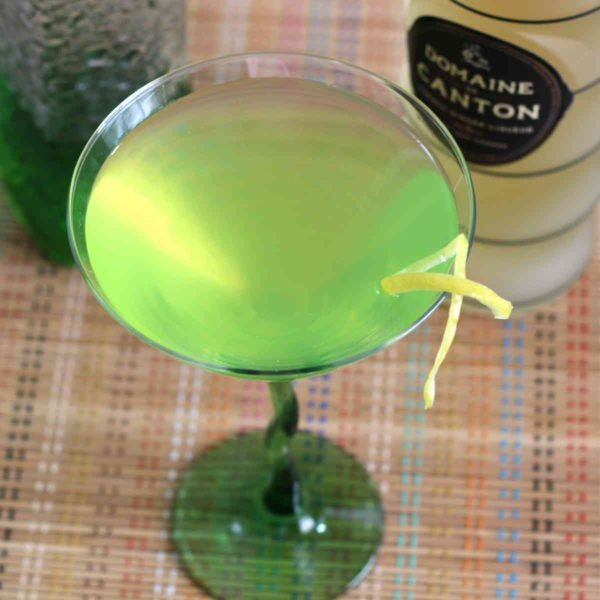 Honeydew Ginger Martini recipe with vodka, Midori, Domaine De Canton Ginger Liqueur, lemon juice and Angostura bitters.