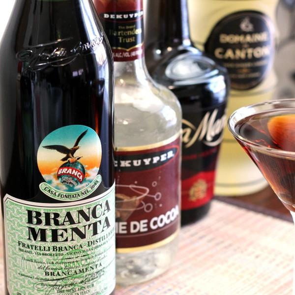 Branca Menta Hopper drink recipe: Branca Menta, Creme de Cacao, Tia Maria, Domaine de Canton Ginger Liqueur
