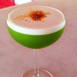 Matcha Pisco drink recipe: Pisco Porton, matcha green tea, orange curacao, pineapple, tarragon, lemon, egg white
