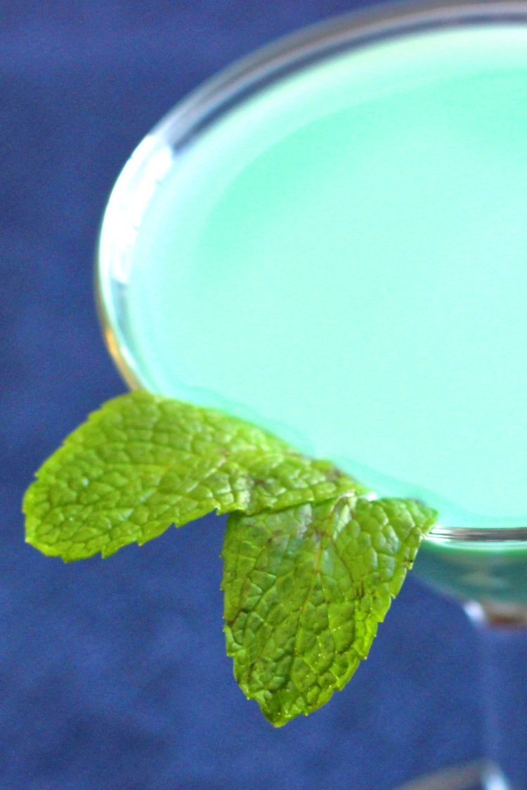 Closeup of mint leaves garnish on Grasshopper drink
