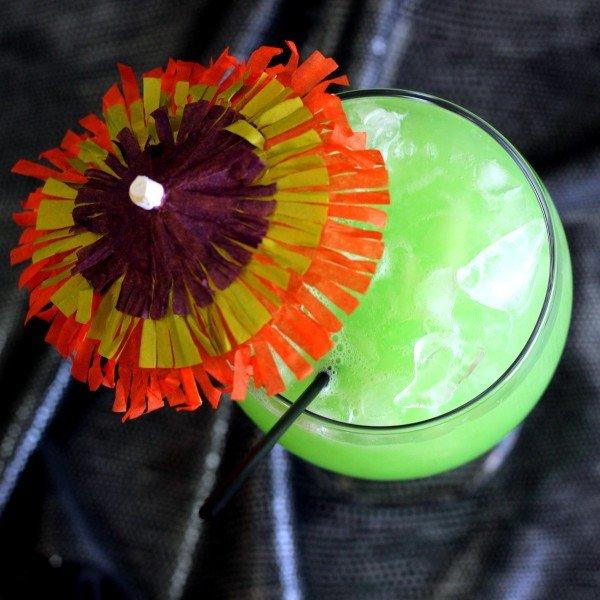 Green Eyes Drink Recipe: rum, Midori, coconut cream, pineapple juice, Rose's Lime