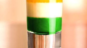 Irish Flag shot drink with layers of green, white and orange
