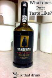 Bottle of port on kitchen counter