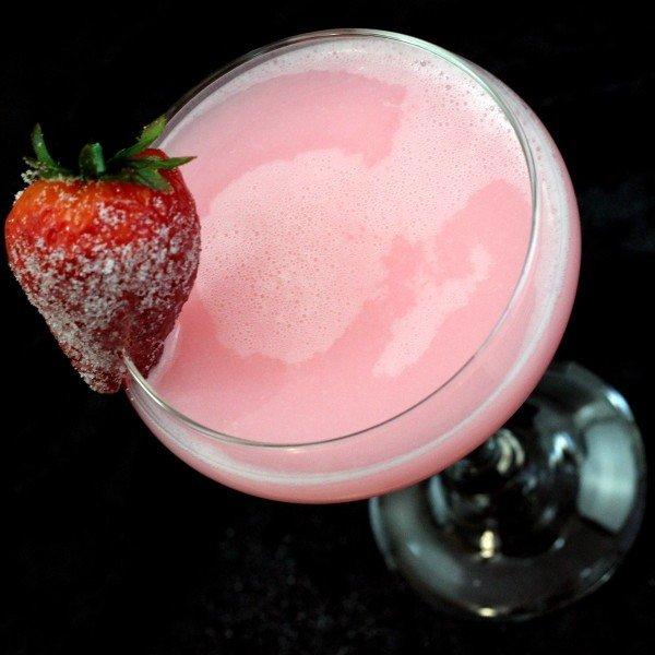 Strawberry Patch drink recipe: strawberry liqueur, cherry vodka, Galliano, sloe gin, mandarin juice, cream