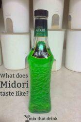 Bottle of Midori on kitchen counter