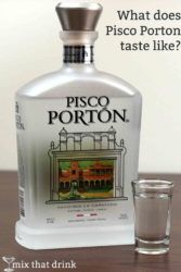 Bottle of Pisco Portin next to shot glass of same