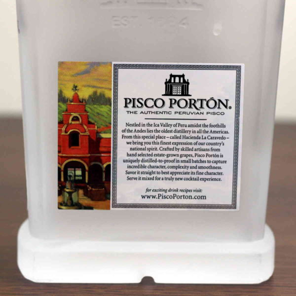 My detailed tasting notes and review of Pisco Portin. It's a clear or light amber brandy with a proof in the mid-80s. That's pretty potent - around the same as gin, served straight up.