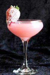 Strawberry Patch drink with sugared strawberry