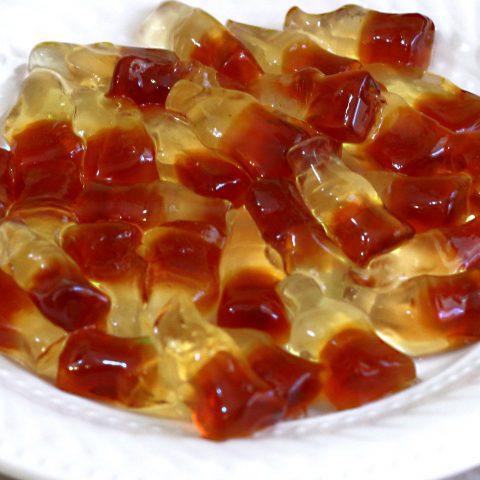 Rum 'n' Coke Gummies on white plate