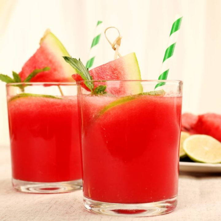 The Fresh Watermelon 'Rita is a fun watermelon margarita that's easy to love and perfect for summer. It uses crushed watermelon rather than puree. #watermelonmargarita #mixthatdrink #margarita #margaritarecipe #watermeloncocktails #tequilacocktails