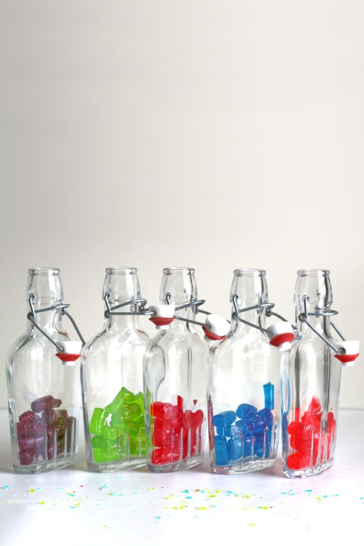 Jolly Rancher candies in vodka flasks