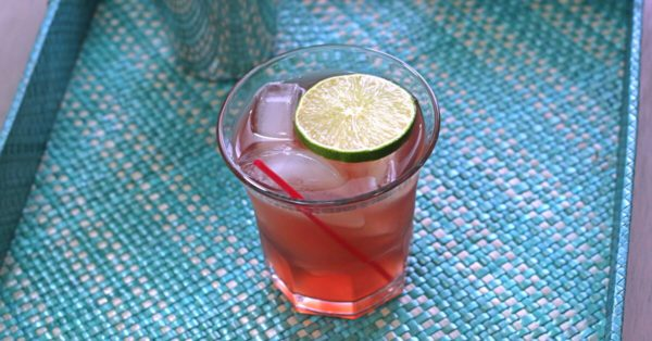 C&T Cocktail with lime wheel