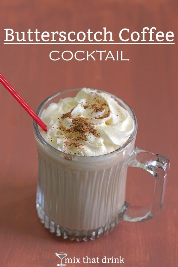 Butterscotch Coffee Cocktail with whipped cream and nutmeg sprinkles
