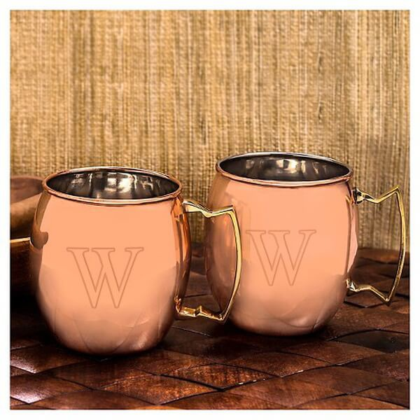 Monogrammed Copper Moscow Mule Mug set