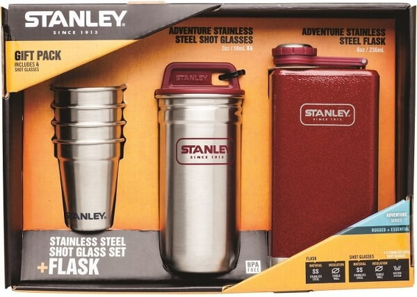 Stanley Stainless Steel Flask and Shot Glasses