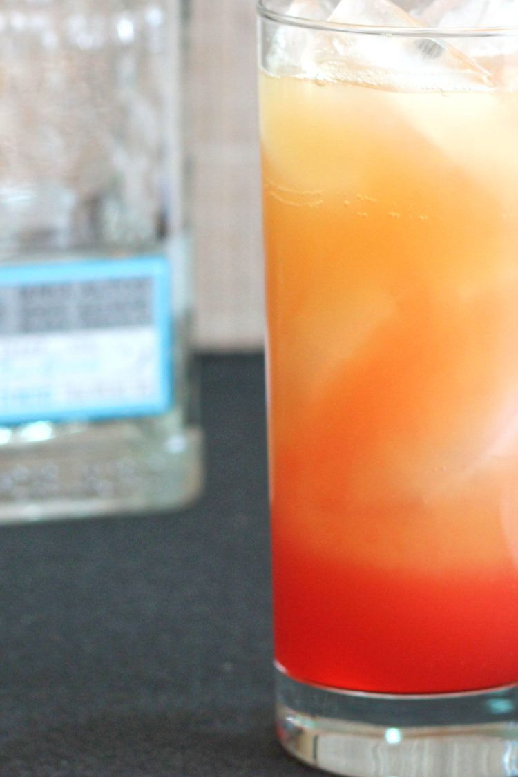 Closeup of Tequila Sunrise on table