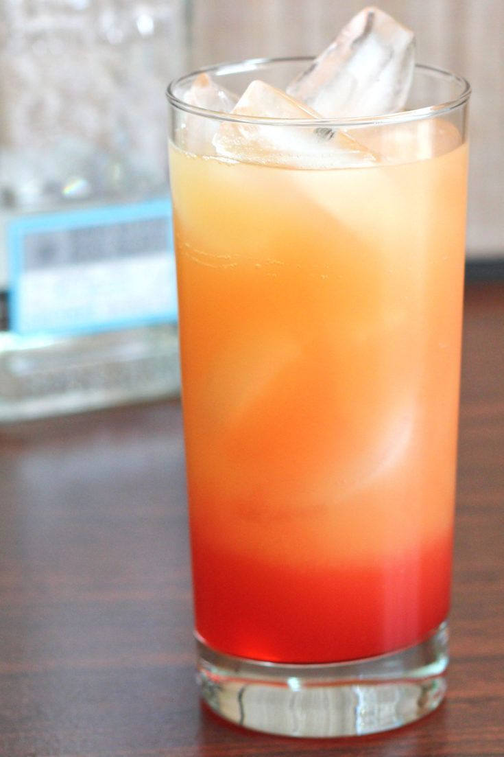 The Tequila Sunrise is a classic orange juice based cocktail. It gets its name from the visual effect of the grenadine dropping to the bottom, then slowly rising to give the drink a layered look.