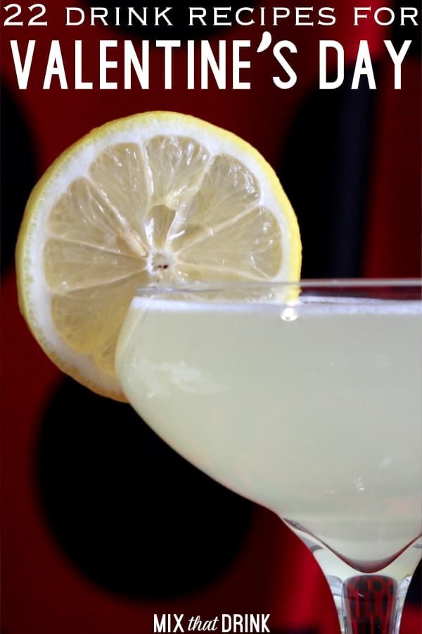 Closeup of a Valentine's Day cocktail