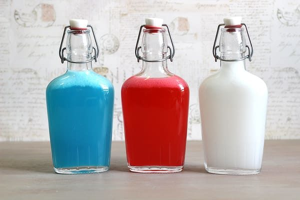 Skittles American Mix infusions in glass flasks