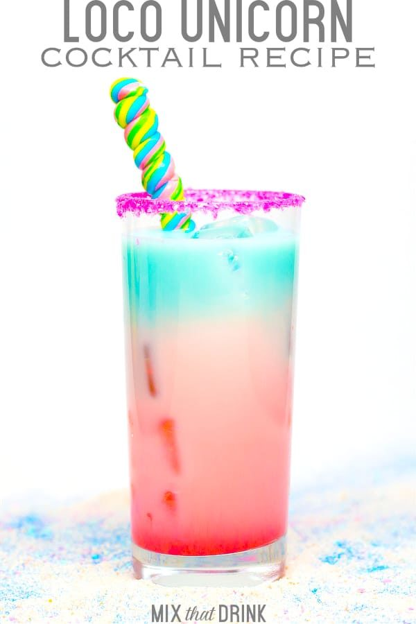The delicious Loco Unicorn cocktail recipe looks as great as it tastes. Captain Morgan's LocoNut coconut liqueur blends with fruity flavors (Curacao and Grenadine) to make a beautiful red to blue rainbow. #locounicorn #loconut #drinkrecipes #cocktailrecipes #coconutrum