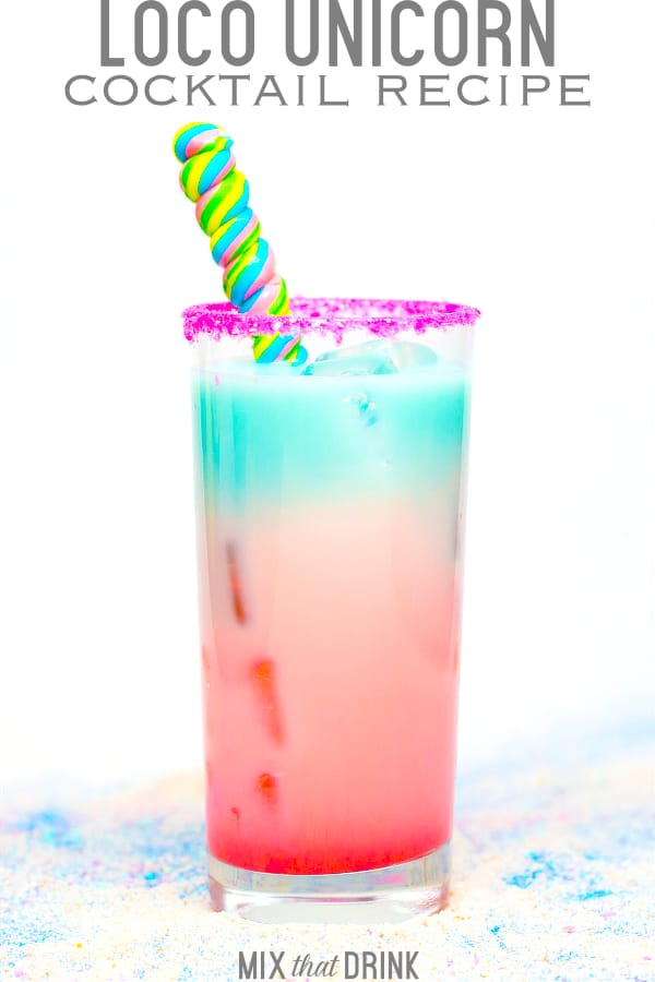 Red and blue layered Loco Unicorn cocktail beside bottle of Captain Morgan Loco Nut