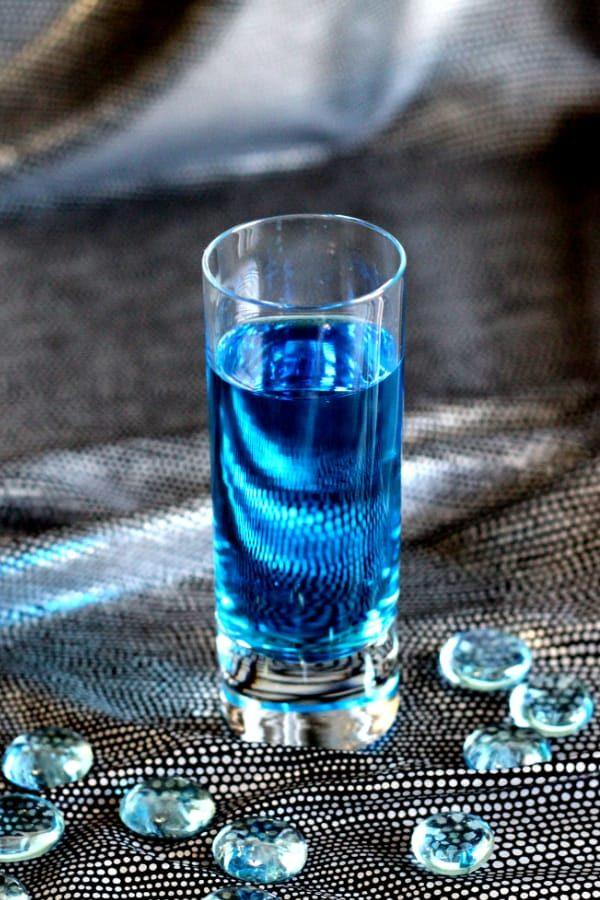 Bright blue shot cocktail