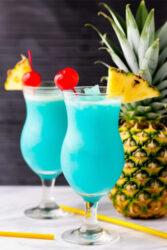 Blue Hawaiian drink with pineapple