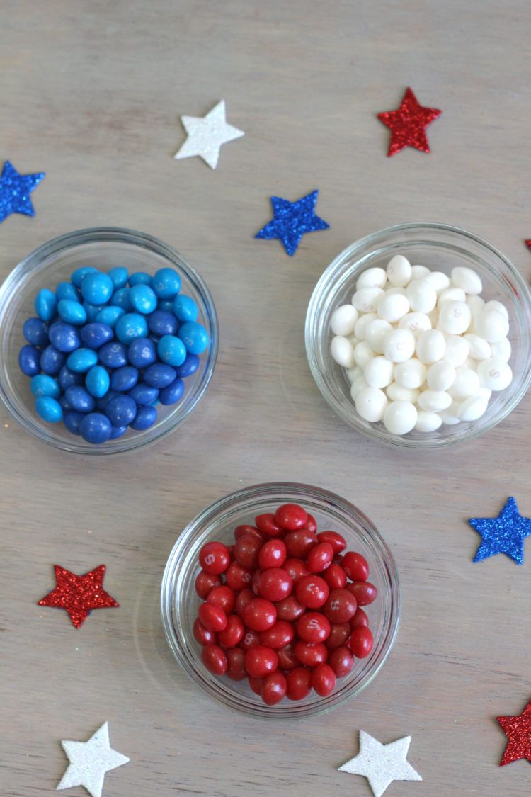 America Mix Skittles separated into bowls of red, white and blue