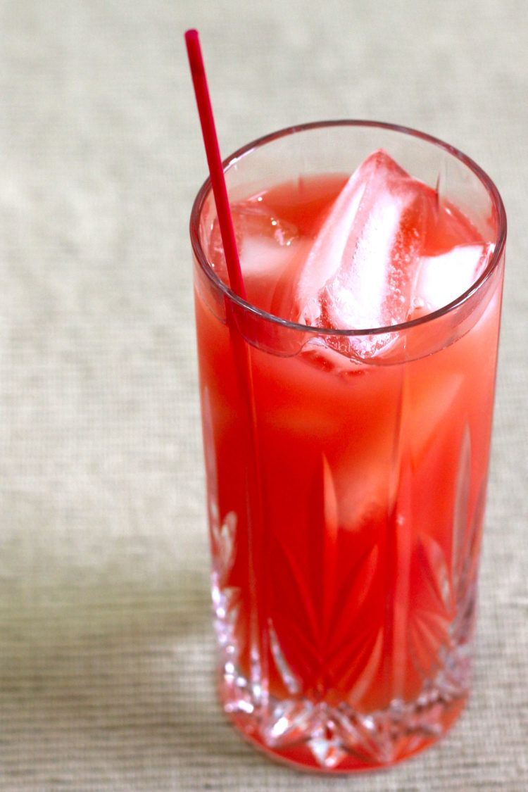 Red Death drink on placemat